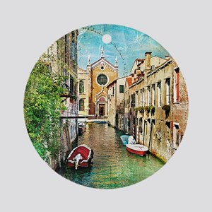 Vintage Venice Photo Round Ornament